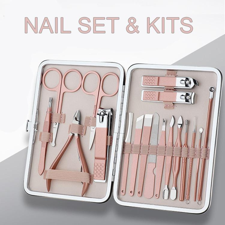 7/10/12/15/18Pcs Set Rose Gold Stainless Steel Manicure Pedicure Nail Clippers Set Scissors Tweezers Ear Spoon Dead Skin Remover Tools Kit