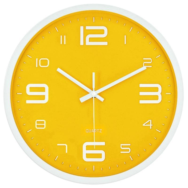 Reloj de pared digital grande Silent Nordic Creative Amarillo Moderno Hogar Simple Reloj de pared