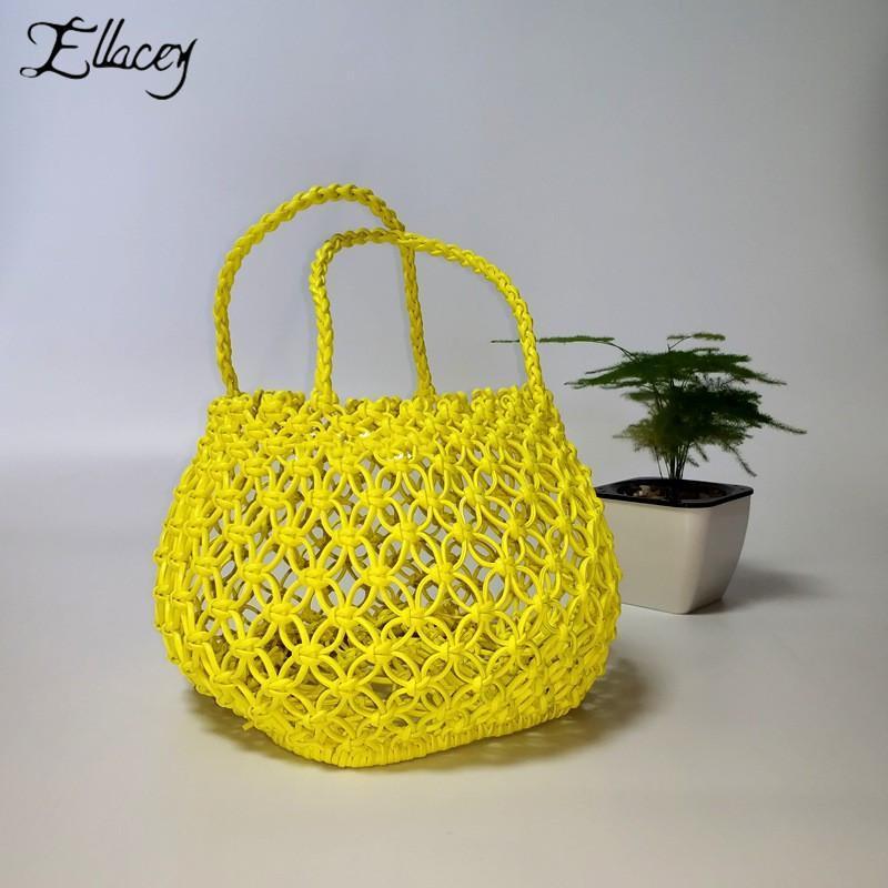 Viscose Casual Damen gewebt zylindrisch tragbarer Tasche Korb Kordel Ei Strohhände Frauen Taschen gelb Tasche weibliche Hand Baumwolle PLSMN
