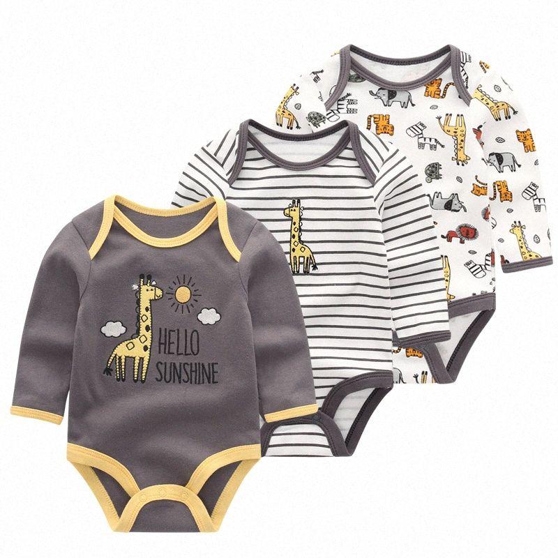 Neugeborene Baby-Kleidung Overalls Baby-Mädchen-Strampler Long Sleeve Infant Roupas de Kleidung O-Ansatz Produkt UGOL #