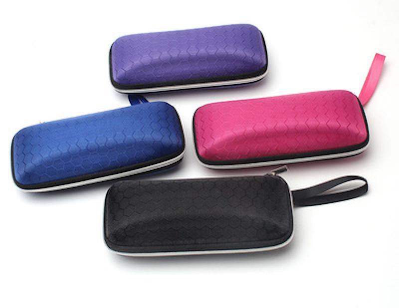 4 ألوان مستطيل نظارات واقية من حالة ضغط سحاب سحق المقاومة الصغيرة العين الصلب نظارات نظارات حامي صندوق مع الحبل 20 جهاز كمبيوتر شخصى