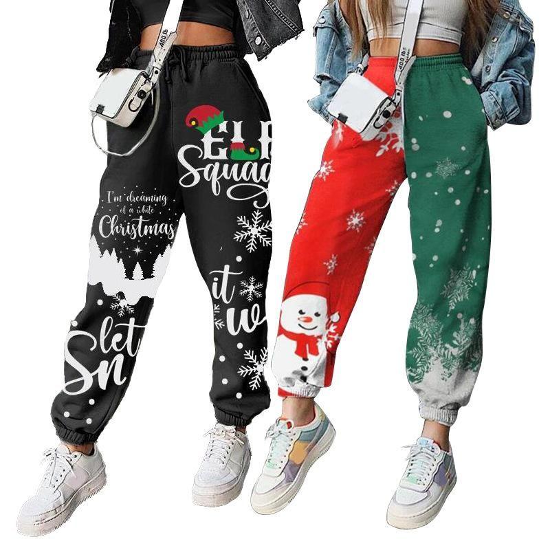 2020 Pantolon Kadınlar Sonbahar ve Kış Yeni Kadın Noel yazdır Artı Kadife Gevşek Spor Sweatpants