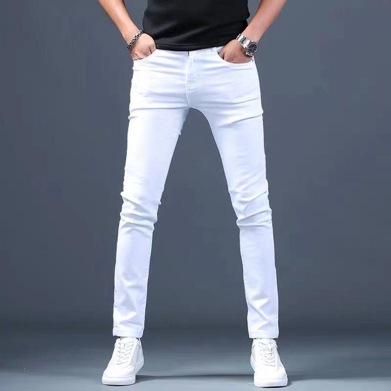 Créateur blanc Jeans Hommes Tout neuf Mode Elastic Mens Hommes Denim Pantalons Pantalons Décontractés Slim Fit Stretch Skinny Jeans Pantalon pour hommes 201128
