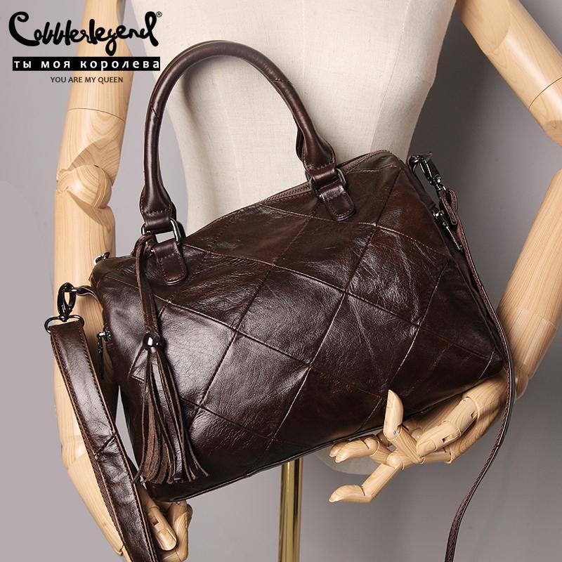 Cobbler Legende Echtes Leder Tote Luxus Designer Frauen Reißverschluss Geldbörse Handtasche Vintage Crossbody Umhängetasche Damen Boston Tasche