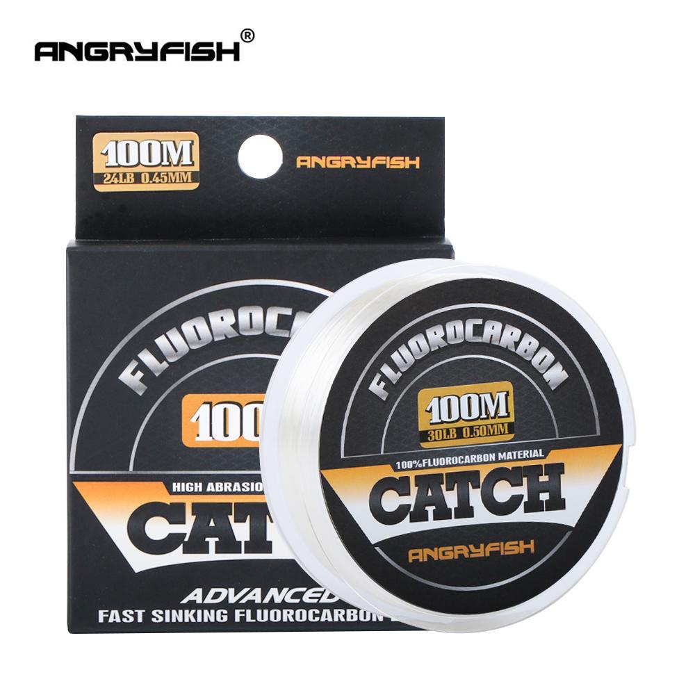 Angryfish 100% FluoroCarbon Line Line 100M прозрачный углерод моноволокна супер прочная бесплатная доставка 201116