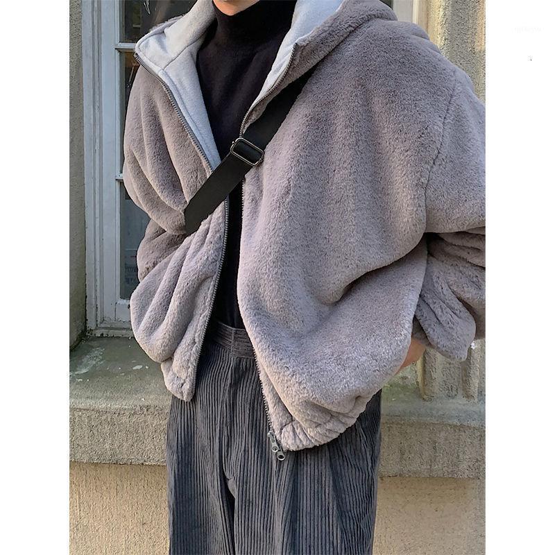 Kış Kalın Peluş Ceket erkek Sıcak Moda Rahat Retro Kapüşonlu Ceket Erkekler Vahşi Gevşek Kore Kısa Ceket Erkek Giysileri M-XL1