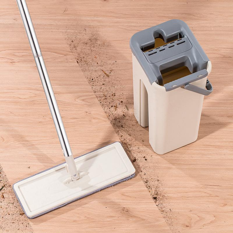 Плоский сжатый ковш швабры с ручкой для переноски, без рук, мытье рук Ленивый швабрый самоочищающий волшебный моп для мокрой сухой безопасности на всех поверхностях LJ201130