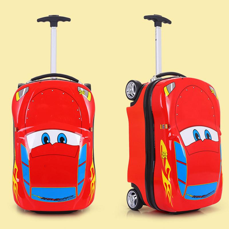 Children's Suitcase Child Trolley case Luggage Bag kids Schoolbags travel Suitcase Wheels Supercar Travel case Toys for kinds LJ200928