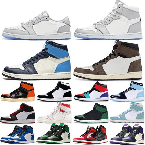2020 scarpe Jumpman 1 Royal Toe Pine Green Court Viola 1s Obsidiana Tie Dye Smoke Grigio UNC Mens Womens Sneakers sportivi