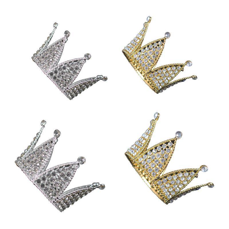 Bébé hexagone luxe strass couronne mini-diadème mariage accessoires de cheveux de mariage princesse filles anniversaire fête tête bande de tête décor