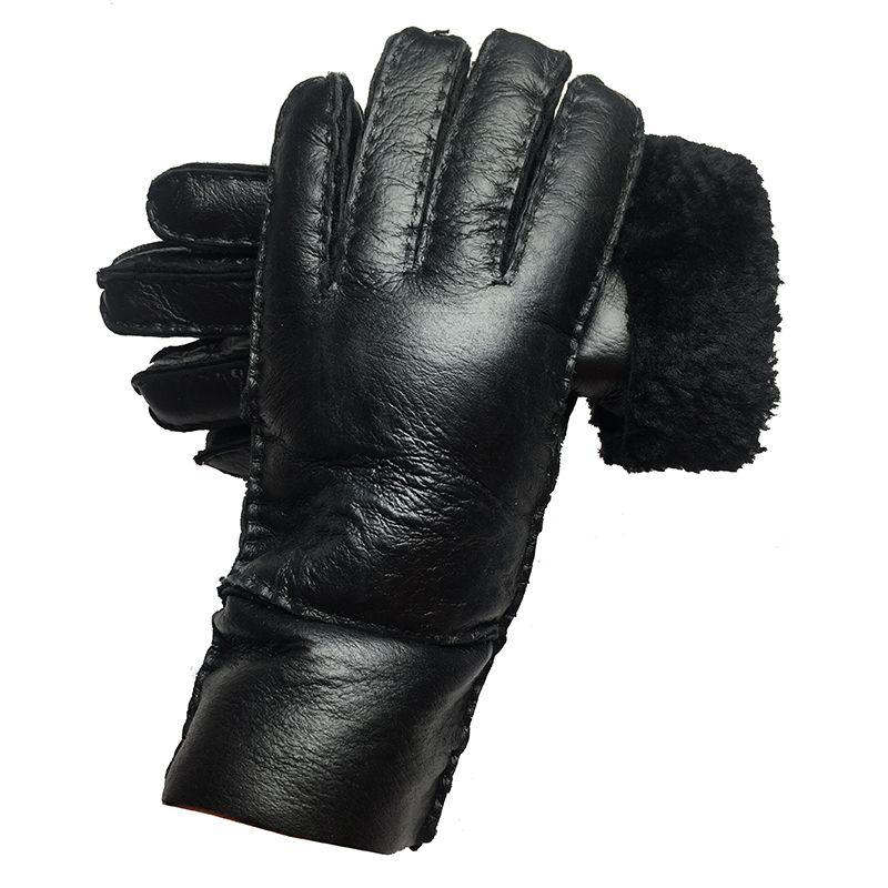 Зима Женщины России Теплый натуральной кожи овчины Полный Finger женские перчатки варежки 201019