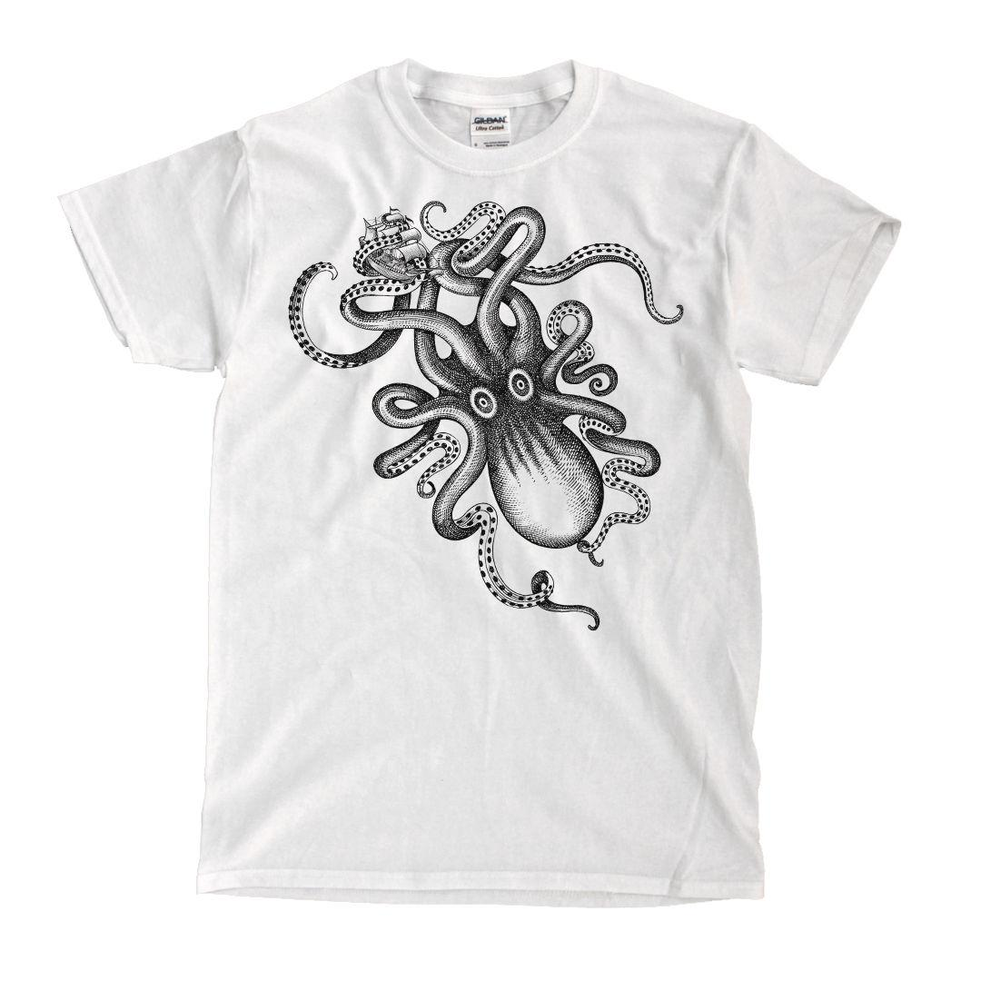 Kraken Spiced Rum Octopus White T-Shirt - Ships Fast! High Quality! sport Hooded Sweatshirt Hoodie