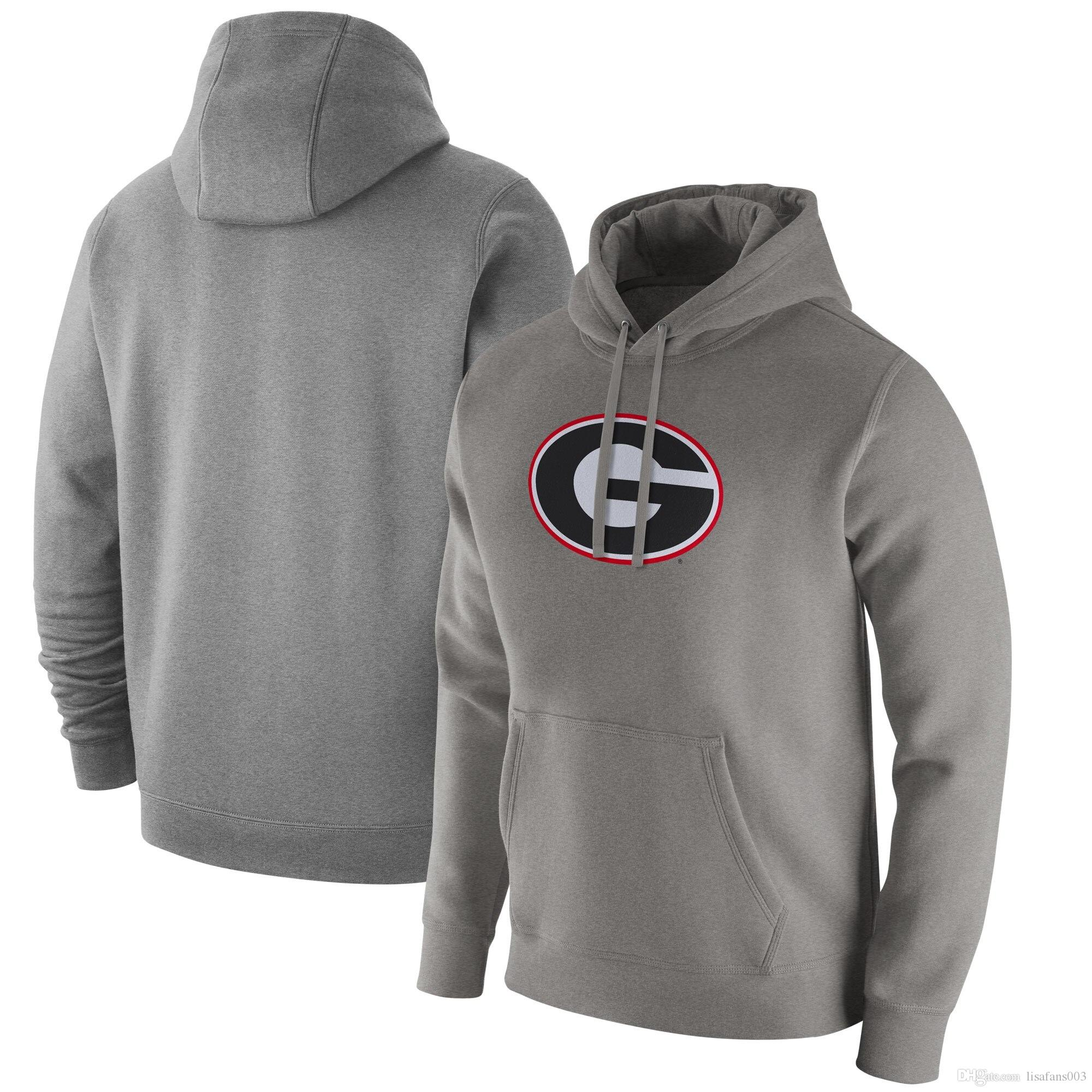 Logotipo de Georgia Bulldogs Club Red Fleece Sudadera con capucha para Army Black Knights Duke Blue Devils para hombre con capucha gris
