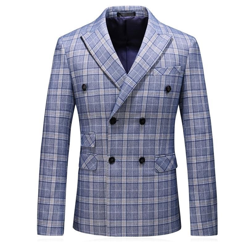homens da moda outono de luxo slim fit ocasional jaqueta de algodão blazer mens dupla breasted blazer jaqueta plus size 5XL 201104