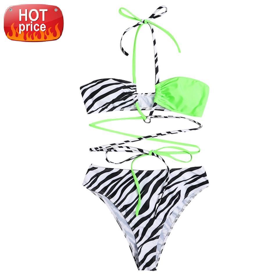 HIRIGIN ZEBRA Çizgili Yüksek Bel 2 Parça Bikini Set Mayo Kadın Patchwork Mayo Dantel-Up Altları Plaj Brezilyalı Banyo # 3J9V
