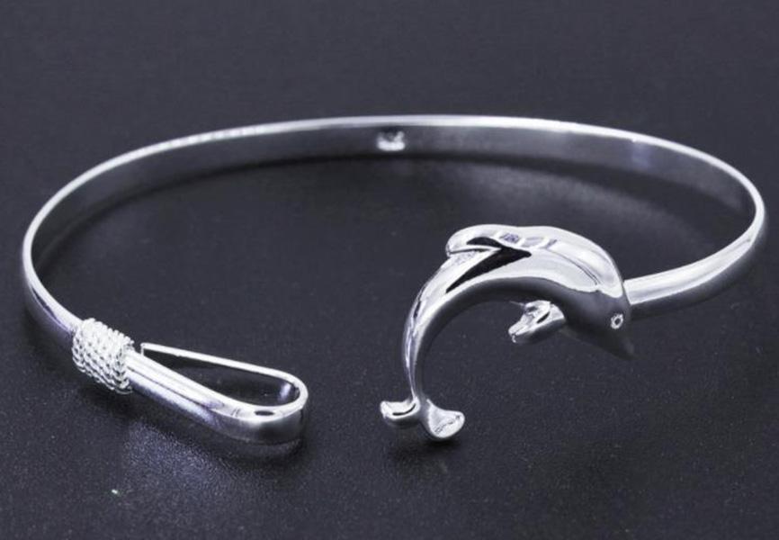 Pulsera brazalete Dolphin pulseras brazaletes de plata exquisito de las mujeres del brazalete de las mujeres del regalo de cumpleaños