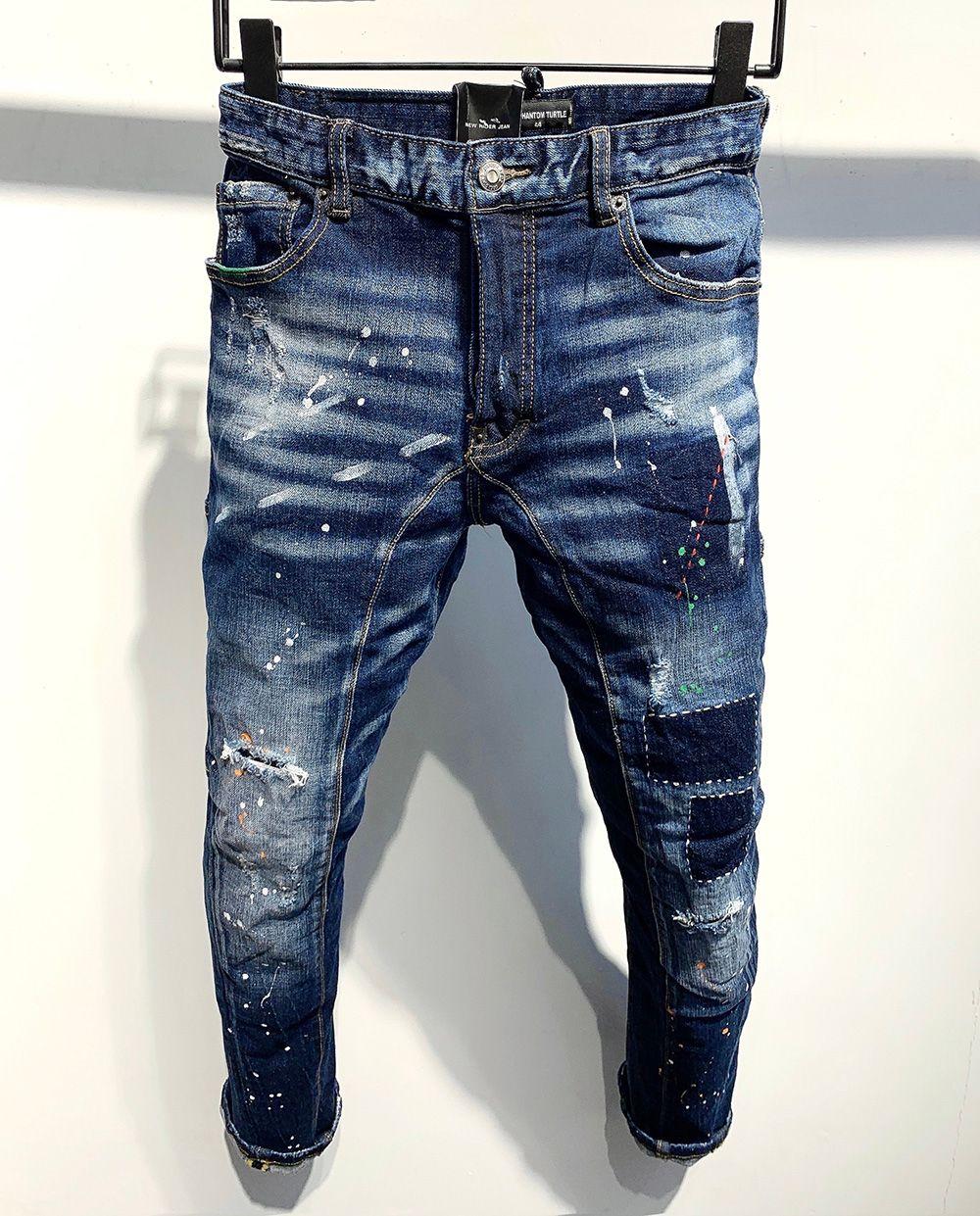 DSQ Phantom Tortue Classic Fashion Homme Jeans Hip Hop Rock Moto Mens Décontracté Design Décontracté Jeans Détonés Skinny Denim Biker DSQ Jeans 2036