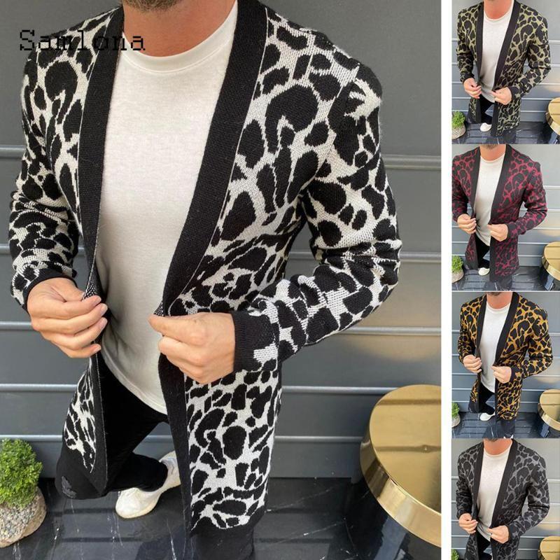Hommes Trendy Leopard Pull hommes Vêtements 2020 de style européen et américain Casual New Printemps Automne Bonneterie Cardigans Pull