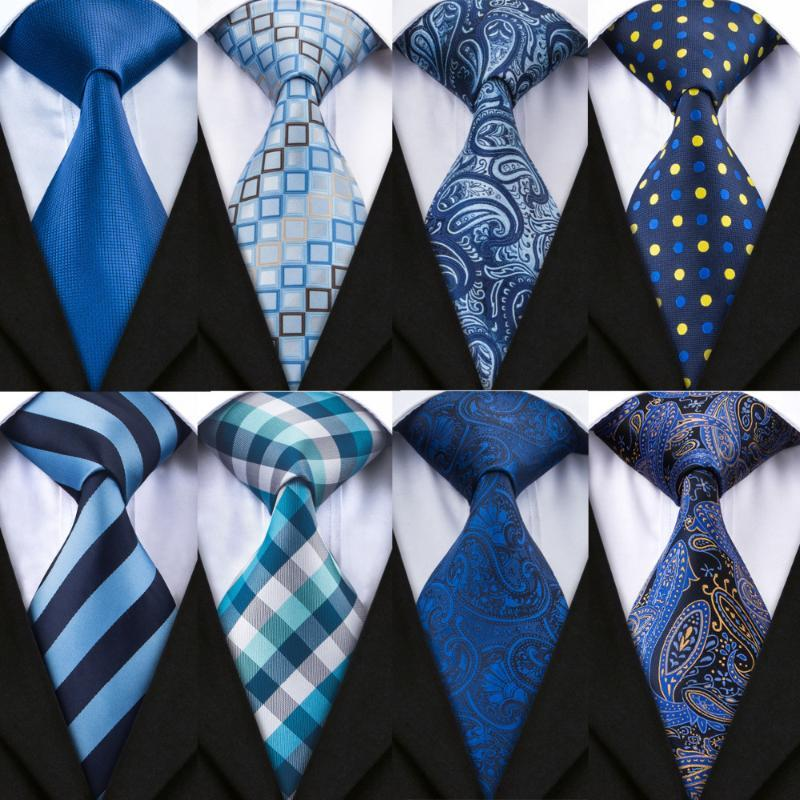 넥 넥타이 Dibangu 20 스타일 Hanky Cufflinks 세트 푸른 남성 넥타이 100 % 실크 남성 웨딩 파티 비즈니스 포켓 스퀘어