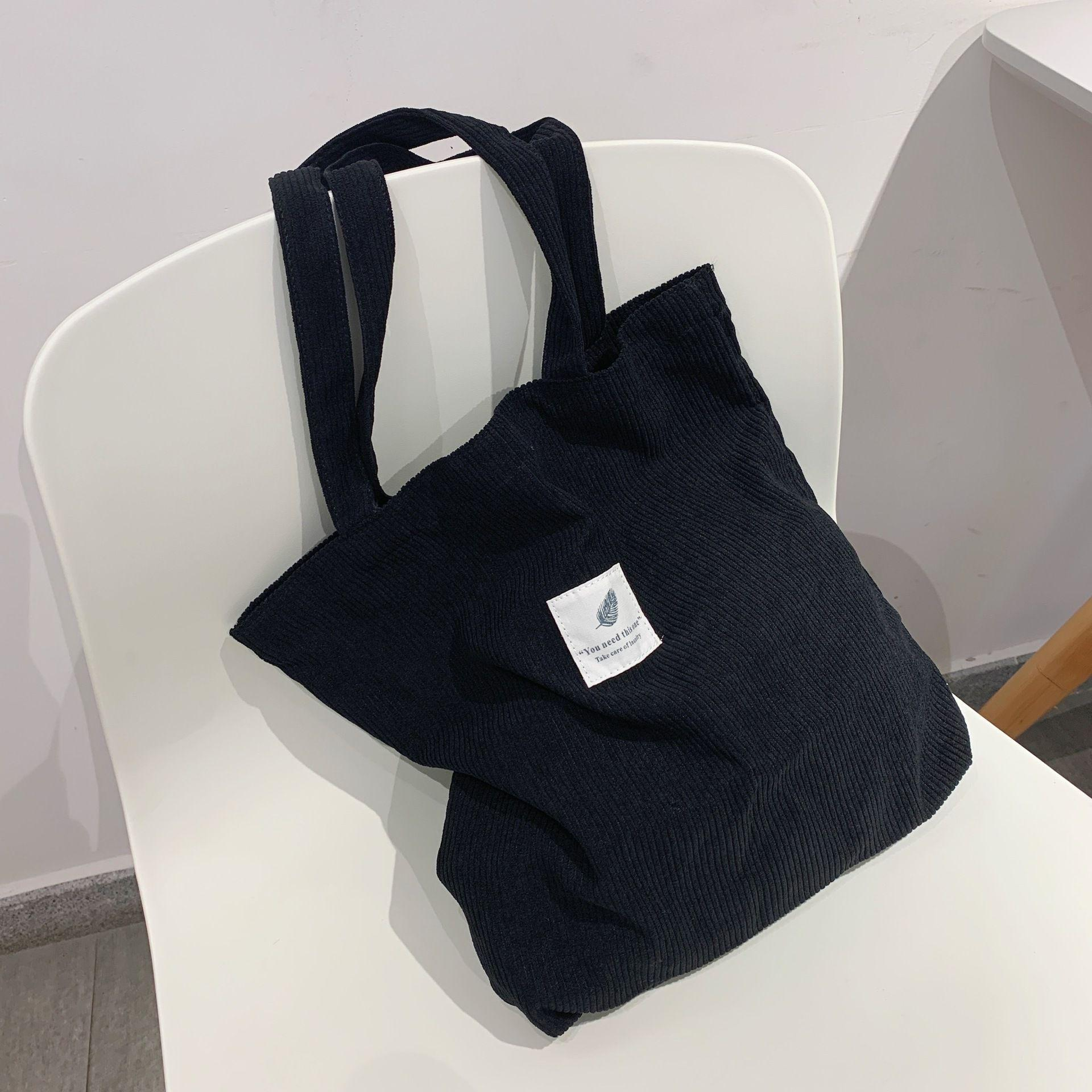 Сумки HBP для женщин 2021 CORDUROY Сумка на плечо Многоразовая сумка для покупок Повседневная Tote Женская сумочка для определенного количества Dropshipping Black
