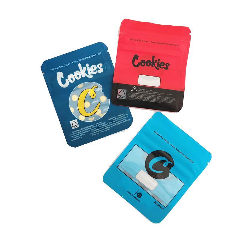 새로운 블루 레드 쿠키 가방 캘리포니아 SF 8th 3.5g Mylar childproof 가방 420 포장 젤라틴 시리얼 우유 게리 Payton DHL 무료