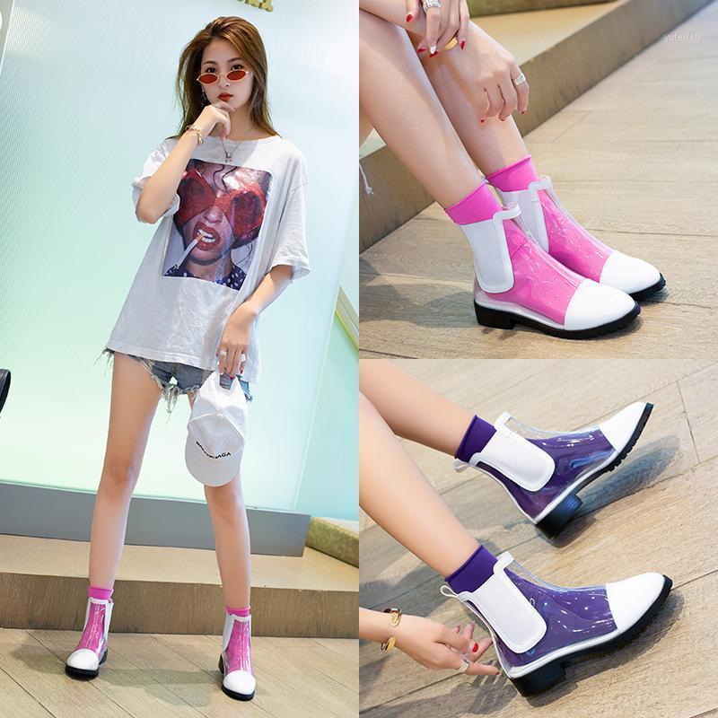 2020 NUEVA Plataforma plana Botas de tobillo Mujeres Botas transparentes Diseño de marca Toe Redondo Toe Spring Spring Shoes1