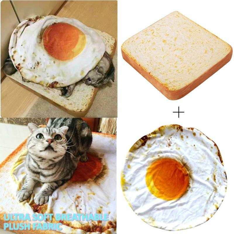 Pet Bed Dog Cat Mat Blanket Kennel Durable Soft Bread Poached Eggs Mats Four Seasons Durable Soft Toast Bread And Poached Eggs