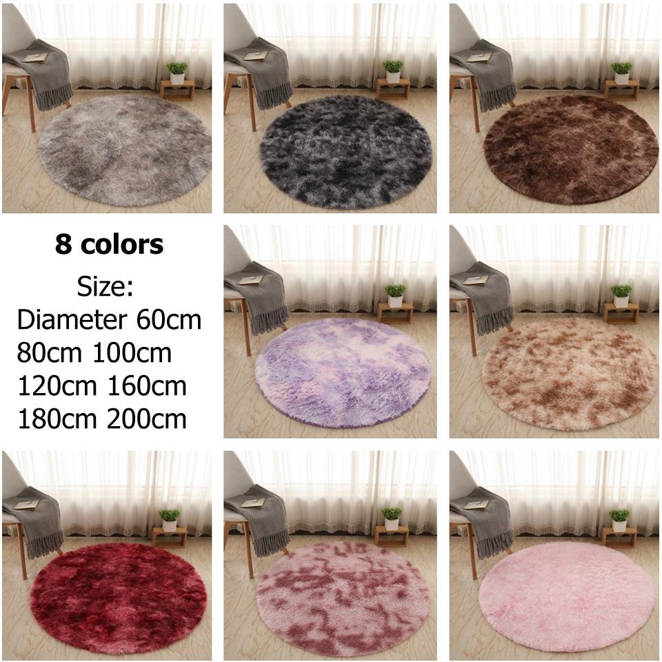 Capelli lunghi rotonda Carpet Nordic Tie-dye Gradient Colore Tappeto Faux Fur Mat Shaggy morbido lanuginoso Tappeti Per Salotto bambini della camera da letto