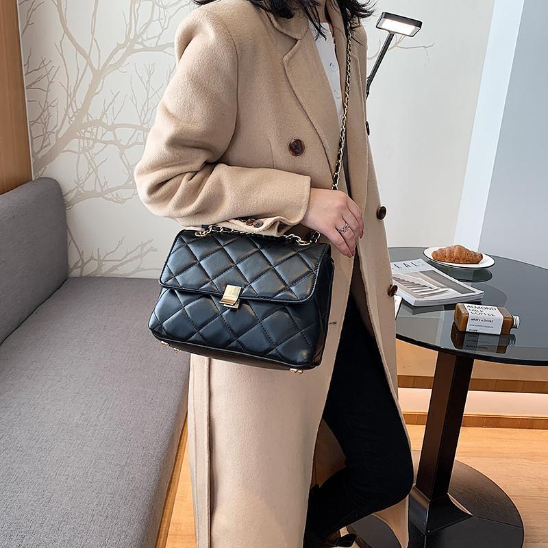 Women Black Diamond Lattice Crossbody Bag Stylish Small Square Flap Bag Female High Quality Leather Plaid Shoulder Handbag Sac