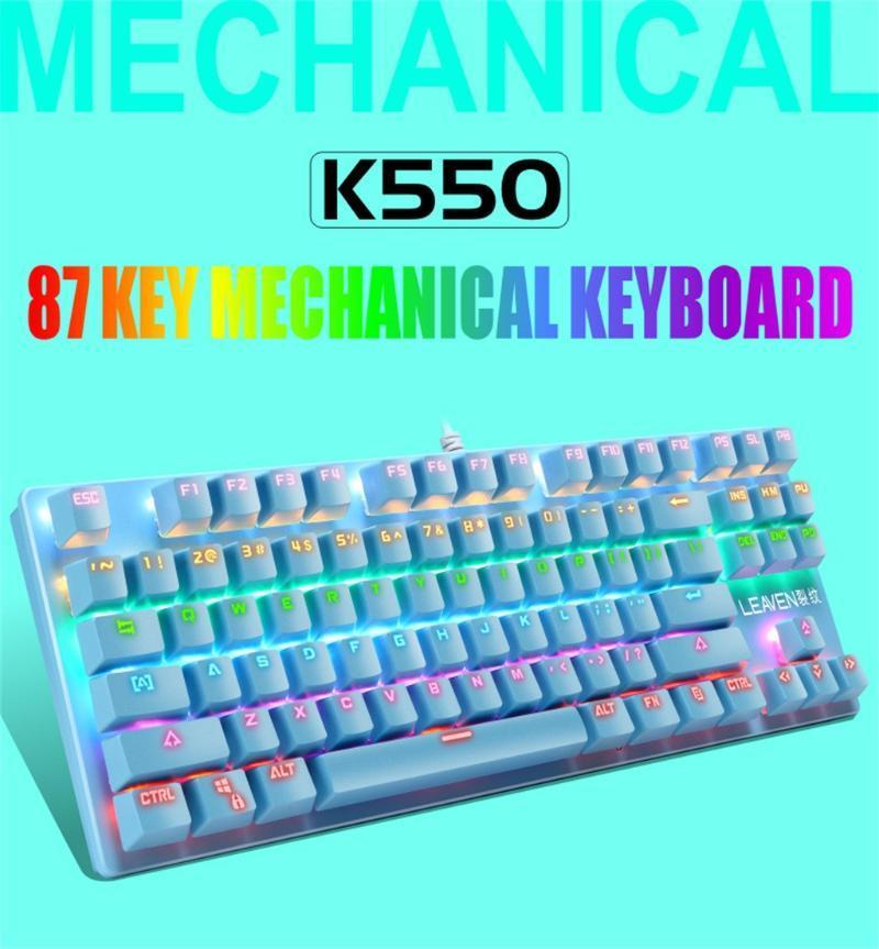 K550 meccanica USB Wired Keyboard 87 tasti Gamer tastiere per PC LED colorato illuminato retroilluminato Gaming Keyboard Dropshipping