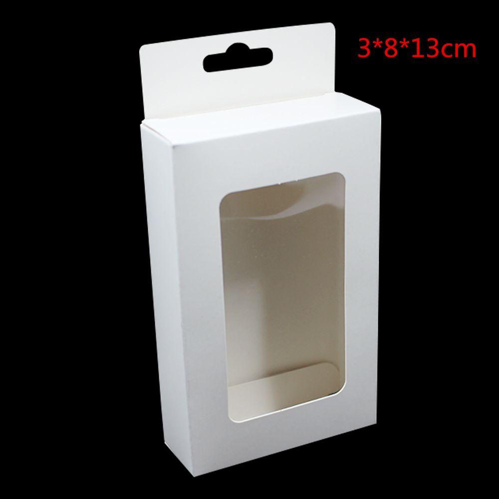 Delik Hediye Kutusu İnci Şeker El Sanatları Pencere Kutusu Asma Takı Kağıt Kurulu için 30 Adet Lot 3x8x13 cm Beyaz Kraft Kağıt El yapımı Sabun Saklama Kutusu