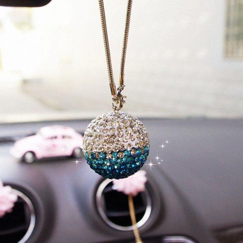 Araç Aksesuarları İç Kristal kolye Süsler Dekor Araç Dikiz Aynası Kristal Küre Dekorasyon Şekillendirme Tel4 # Asma