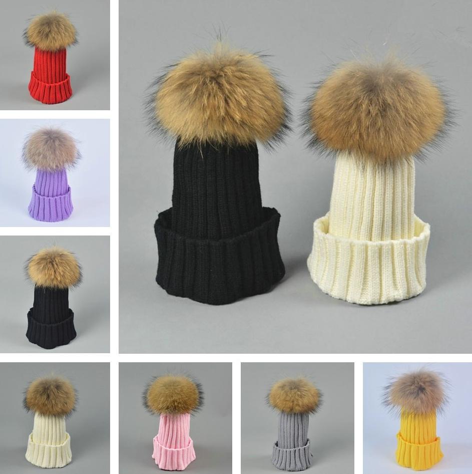 Sombrero de invierno sombreros mujeres para hombre gorro de punto con mapache real pelota para perros niños niños piel pom cráneo slouchy tapas de gorra