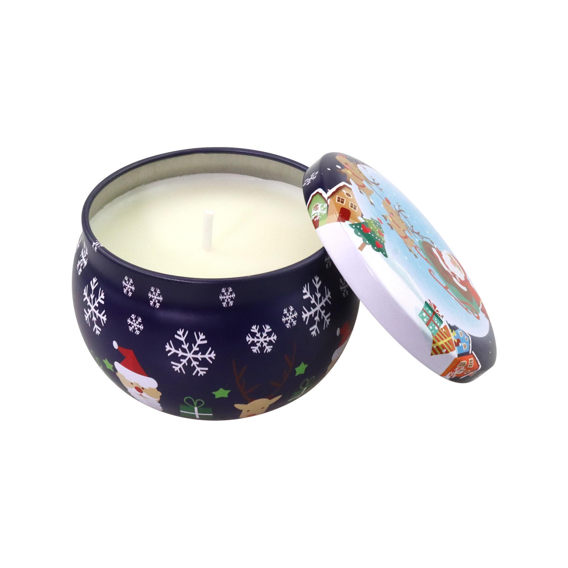Natal mancha essencial óleo de soja de óleo de lata de lata velas cruz - coco de fronteira coco cantou candles