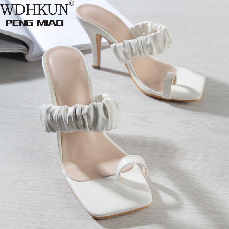 WDHKUN Hausschuhe Frauen Falten Mid Heel Schuhe Quadratische Zehe Block Heels Folien Weibliche Sommer Sandalen Damen Weiß Große Größe 35-42