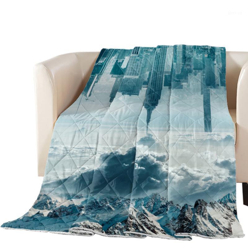Kar dağ şehir gökyüzü yaz yorgan polyester klima yorgan yumuşak battaniye yatak örtüsü yatak örtüsü1