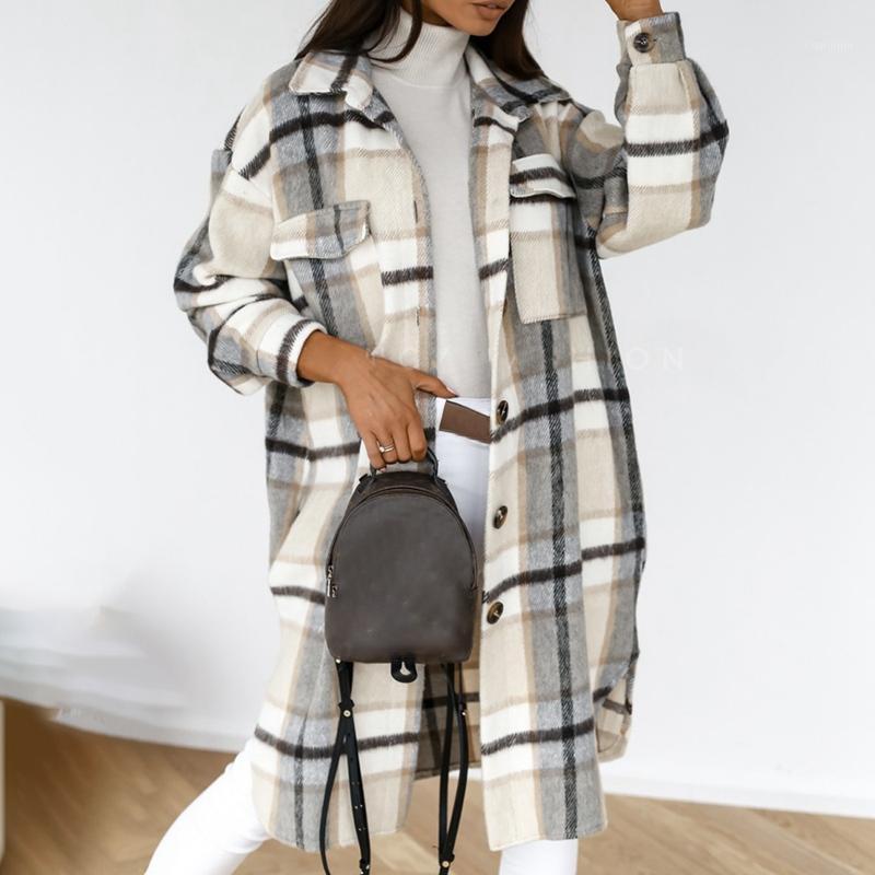 Puimentiua Vintage Frauen Langarm Woolen Mäntel Mode Damen Dicke karierende Mantel Weibliche Streetwear Mädchen Übergroße Jacke Chic1