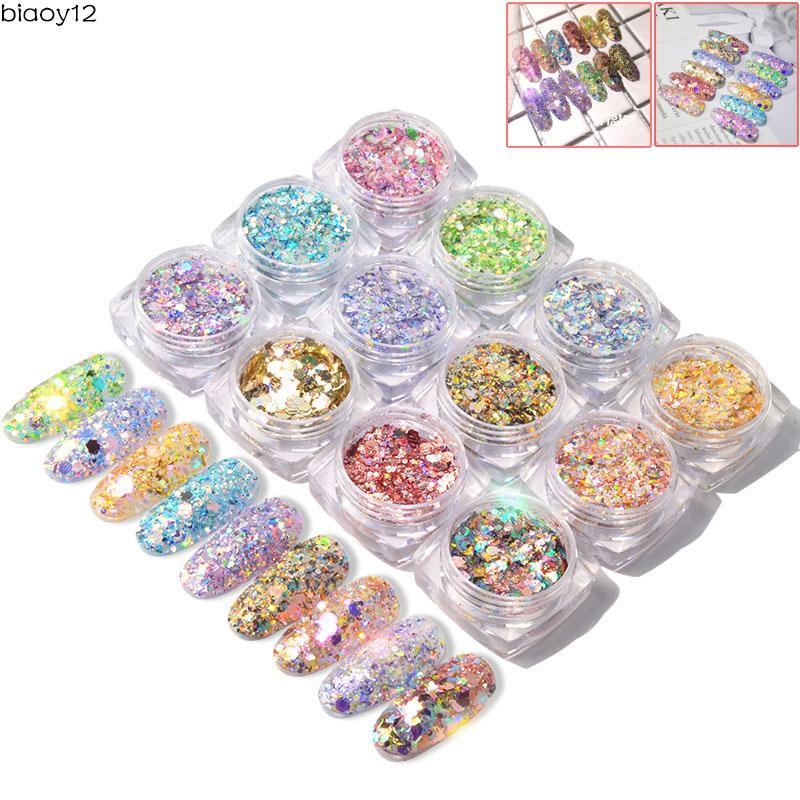 12 Colors Mixed Size Glitter Powder Dust Nail Art Nail Art Sequin Bling Glitter Powder Nail Art Decor Manicure DIY