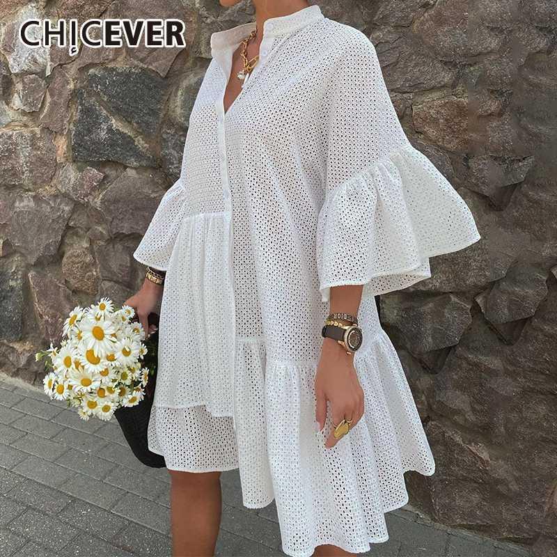 CHICEVER Hollow Out Elbise İçin Kadınlar Standı Yaka Petal Yarım Kol Patchwork Ruffles Artı boyutu dreses Kadın 2020 Yeni Giysileri