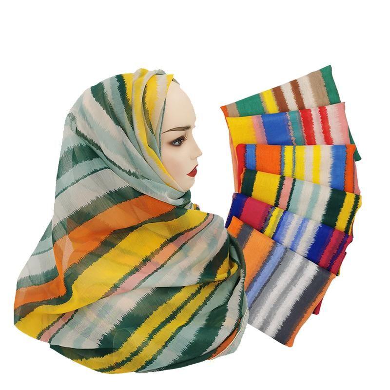 Шарфы модные красочные полоса шарф хиджабские цветастые цвета и шаль мягкие женщины мусульманские исламские хиджабы