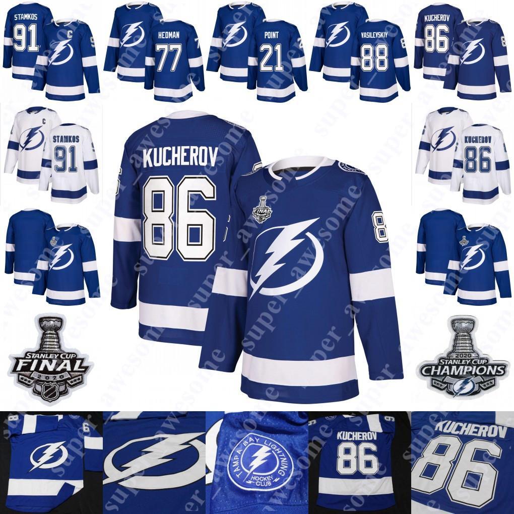 2020 Stanley Cup Champions Nikita Kucherov Jersey Steven Stamkos Brayden Point Victor Hedman Andrei Vasilevskiy Tampa Bay Lightning Camisas