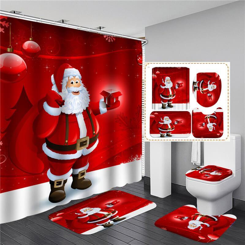 욕실 세트 샤워 커튼 세트 4 PC 뜨거운 판매 샤워 커튼 매트 세트 화장실 커버 180x180cm 샤워 커튼 변기 덮개 HHD4661