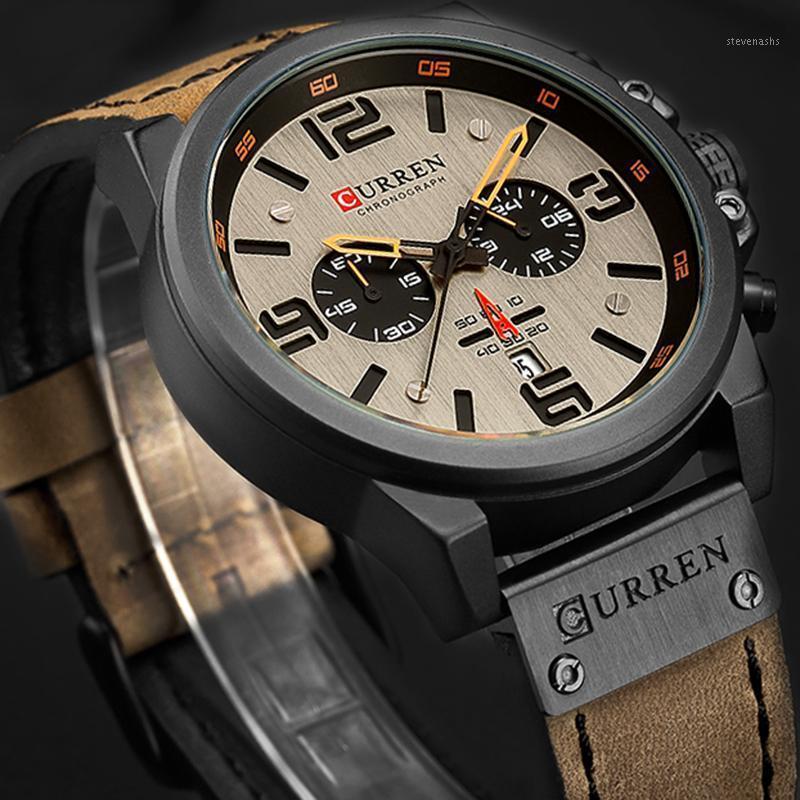 2020 Chronograph Männer Watch Curren Top Quarz Männer Armbanduhren Männliche Leder Sportuhren Relogio Masculino1