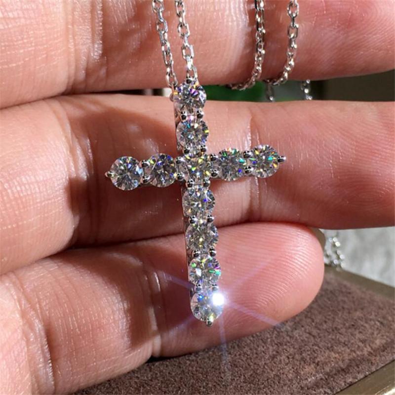 Brand New Luxury Jewelry 925 Sterling Silber volle Runde Schnitt Weiß Topas CZ Diamant Kreuz Anhänger Party Beliebte Frauen Clavicle Halskette Geschenk
