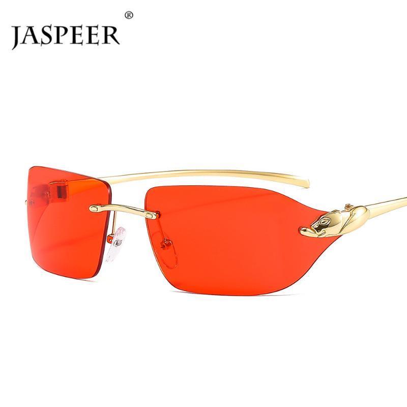 Güneş Gözlüğü Jaspeer Punk Çerçevesiz Erkekler UV400 Sürüş Güneş Cam Kadın Çerçevesiz Retro Marka Tasarımcısı Leopar Shades Gözlük