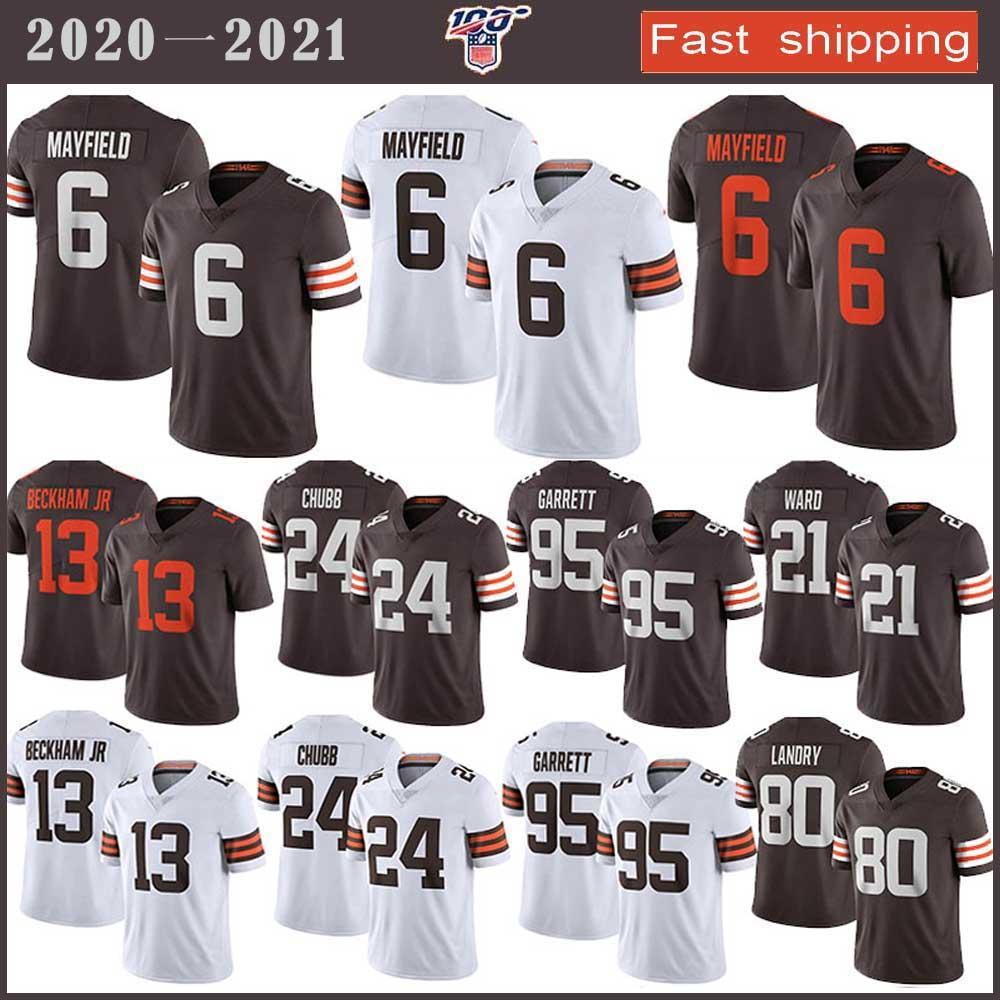 95 Myles Garrett ClevelandKahverengiFutbol Jersey 6 Baker Mayfield 24 Nick Chubb 80 Jarvis Landry 21 Denzel Ward 13 Odell Beckham Jr