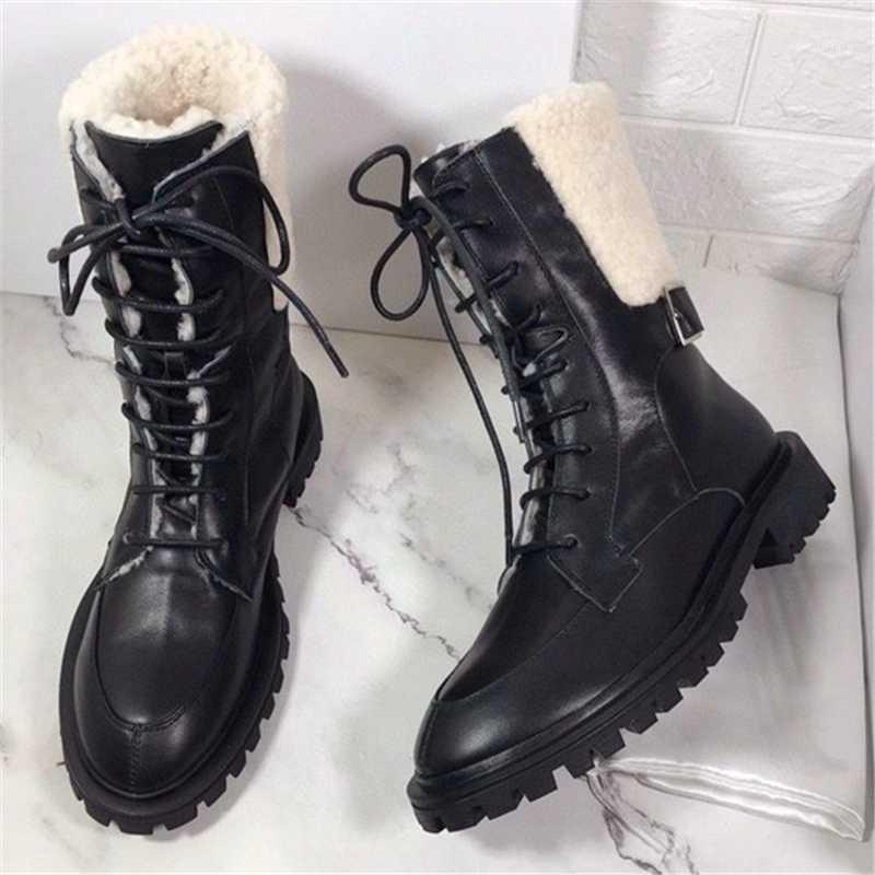 Bottes de neige de l'agbswool à lacets Bottes courtes Bottes métalliques Snap Snap Splic Splitier Martin Platif de plate-forme anti-dérapant Evélator Chaussures pour femmes1