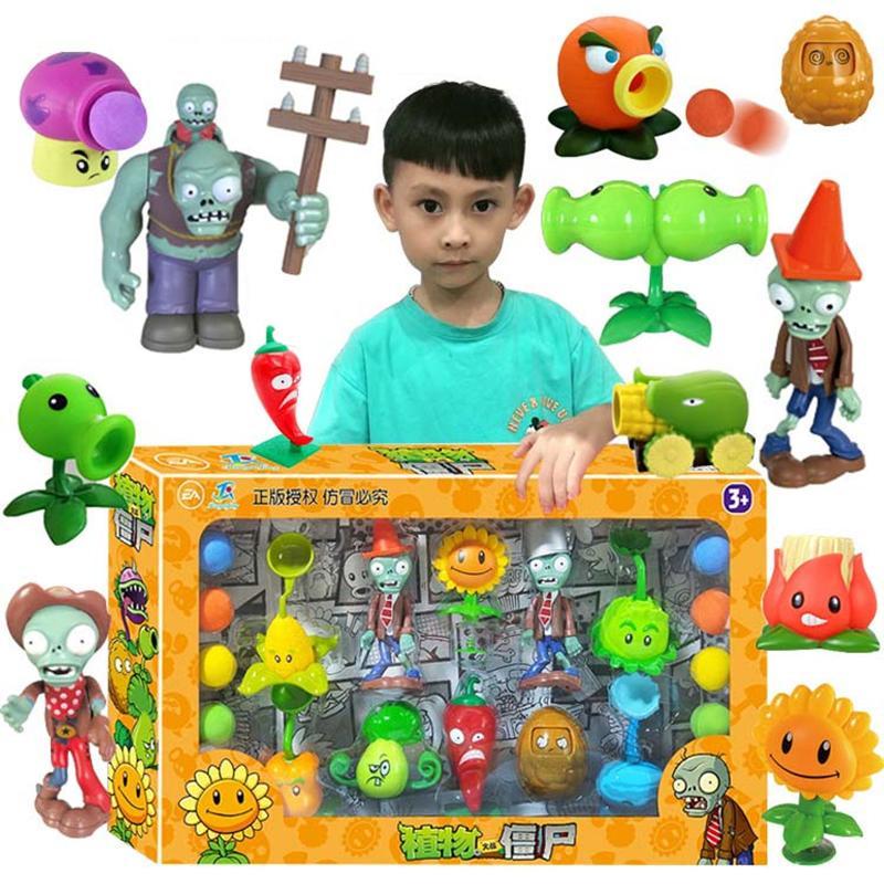 Große echte Pflanzen vs. Zombie-Spielwaren 2 komplette Set von Jungen weiche Silikon Anime Figur Kinderpuppen Kinder Geburtstagsspielzeug Geschenke 201202