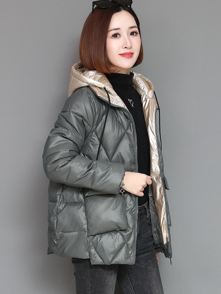 La signora Feather imbottito inverno coreano allentato 2020 nuovo modo lucido breve rivestimento del cappotto Servizio pane