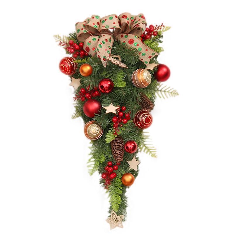 23.6 inç Çiftlik Evi Yapay Noel Gözyaşı Swag Kapı Swag Dekorasyon Berry ile, Kapalı Duvar Ev Için Çam Koni